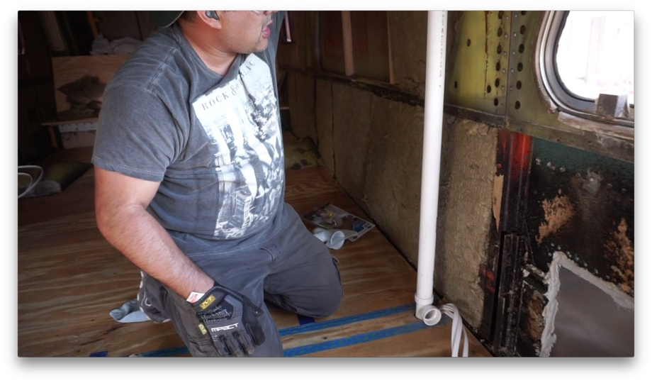 Plumbing the Vent Pipe | Beginning from this Morning on under kitchen sink vent valve, under kitchen sink cover, under kitchen sink support, under kitchen sink tray,